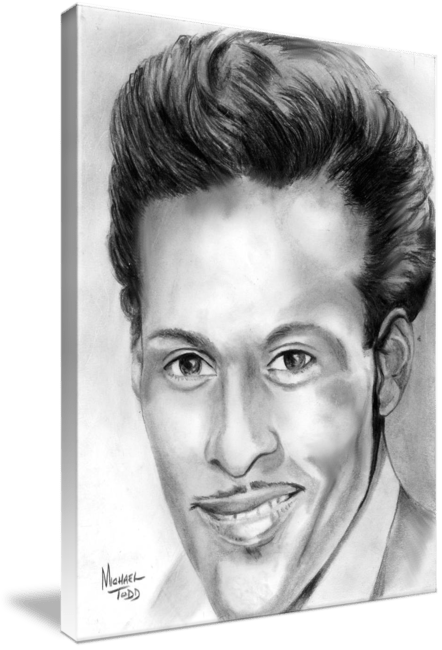 Graphite Drawing of Celebrity Chuck Berry Face