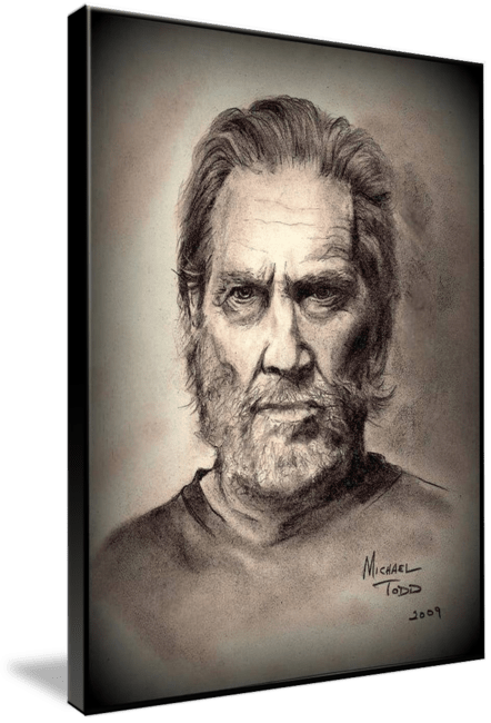 Pencil drawing of Celebrity Jeff Bridges Face