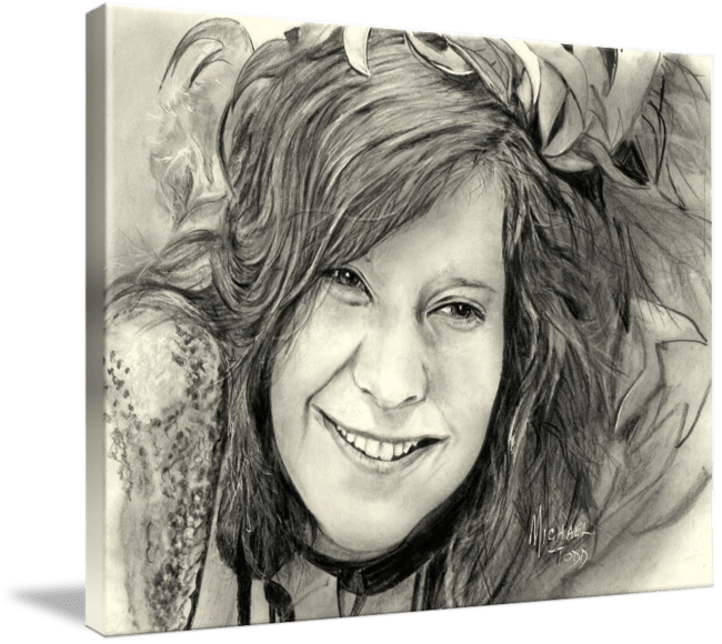 Pencil drawing of Celebrity Janis Joplin Face