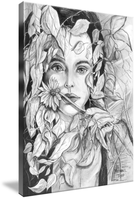 Pencil drawing of a Lady and Flowers