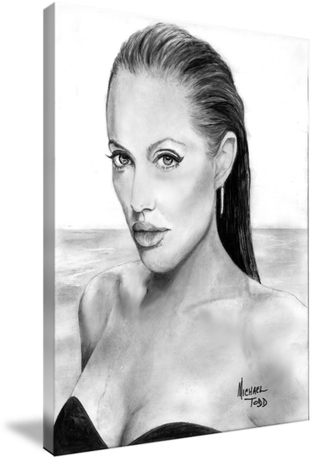 Pencil drawing of Celebrity Angelina Jolie Face