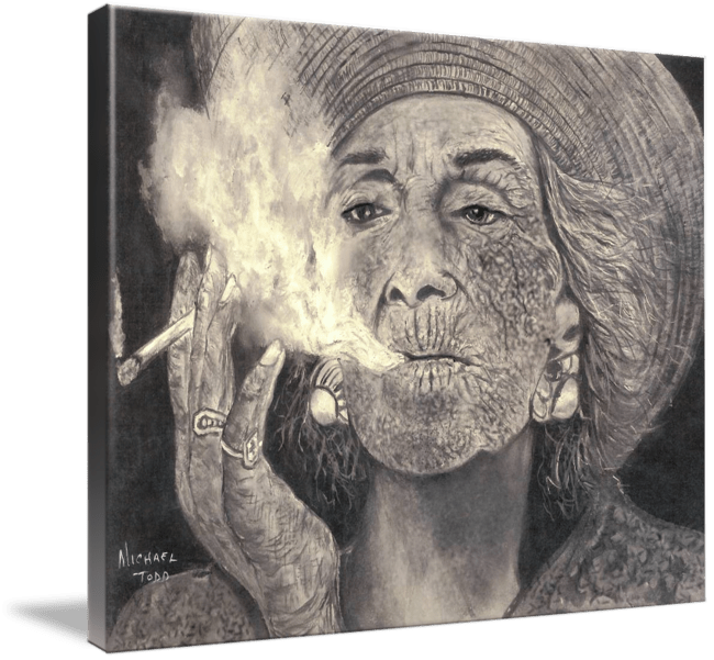 Pencil drawing of a Smoking Woman by Michael Todd