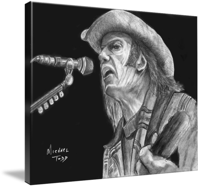 Pencil drawing of Celebrity Neil Young Face