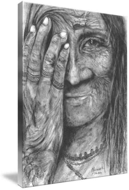 Pencil drawing of Celebrity Sioux Elder Face