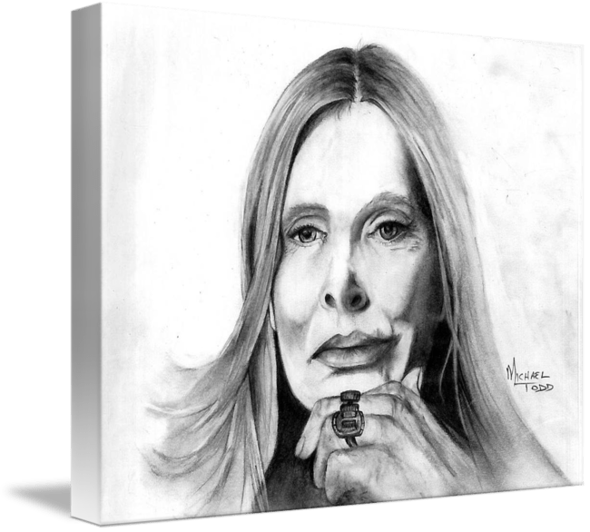 Pencil drawing of Celebrity Joni Mitchell Face