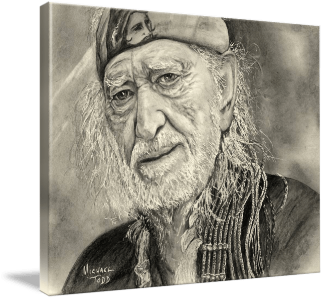 Pencil drawing of Celebrity Willie Nelson Face