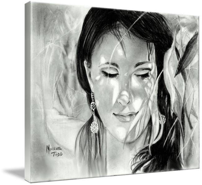 Pencil drawing of a Woman in shadows