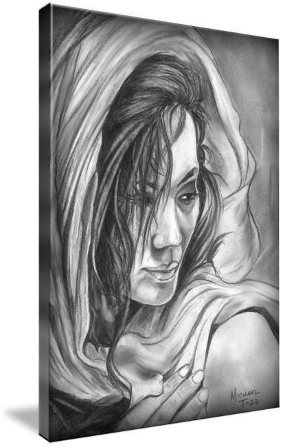 Pencil drawing of a Woman in Shall by Michael Todd