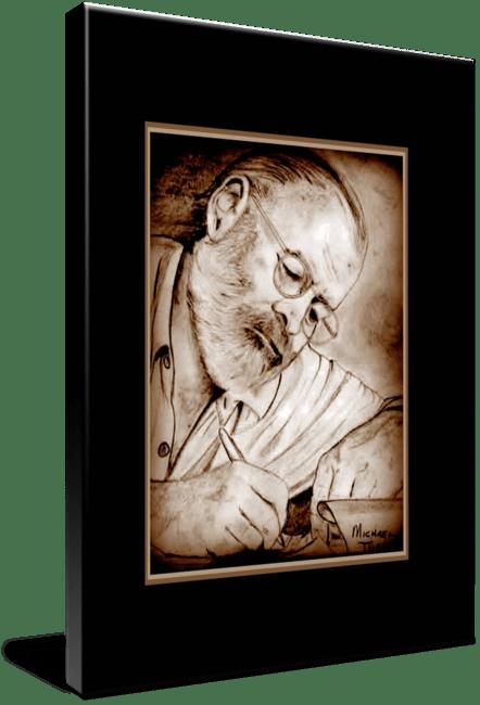 Pencil drawing of Celebrity Ernest Hemingway Face